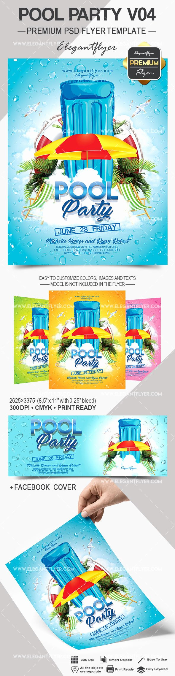 Pool Party Flyers Templates Free Best Of Pool Party V04 – Flyer Psd Template – by Elegantflyer