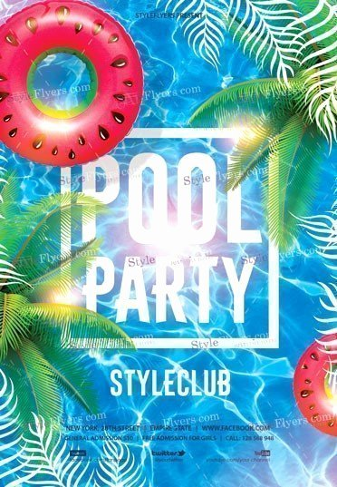 Pool Party Flyers Templates Free Elegant Pool Party Psd Flyer Template Styleflyers