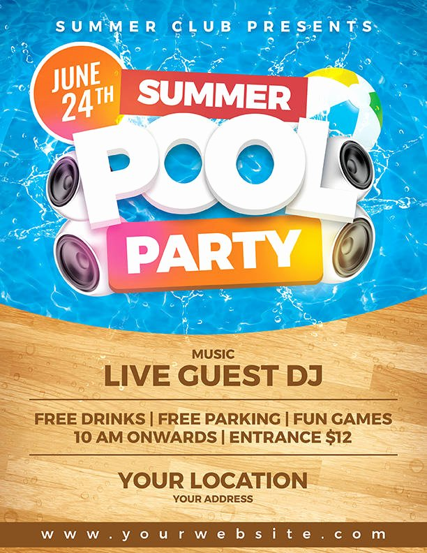 Pool Party Flyers Templates Free Elegant Summer Pool Party Flyer Template by Dilanr On Deviantart