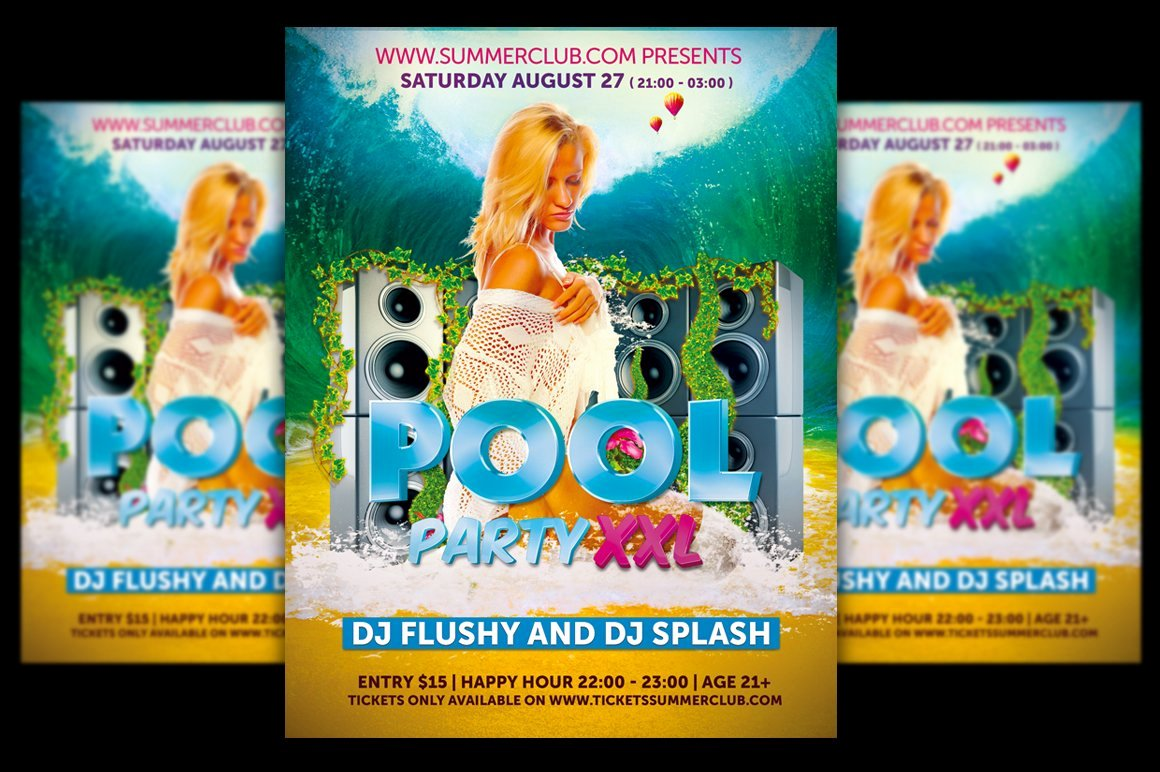 Pool Party Flyers Templates Free Fresh Pool Party Flyer Template Flyer Templates Creative Market