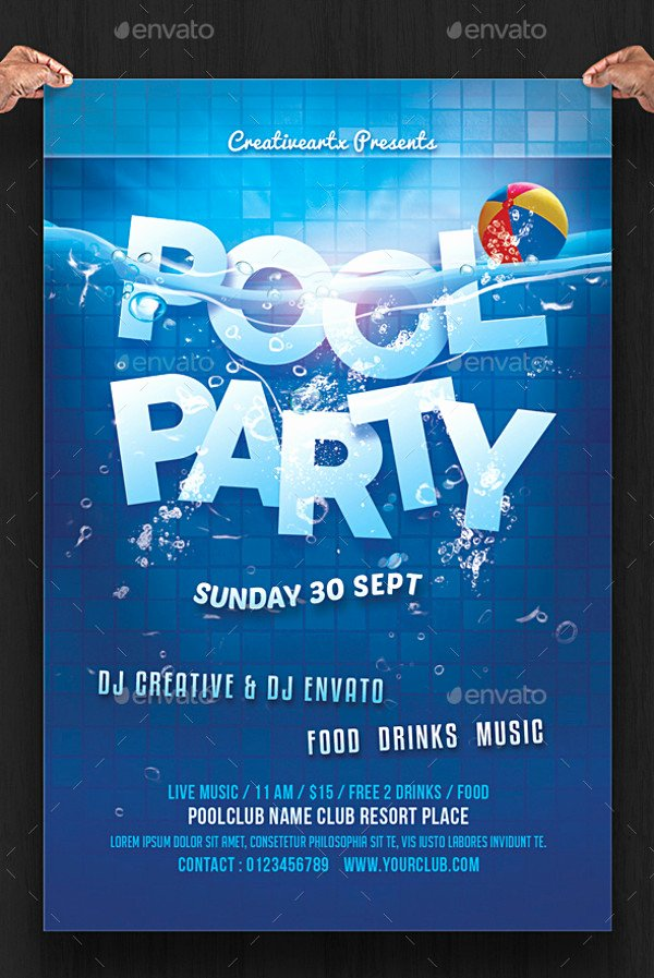 Pool Party Flyers Templates Free Luxury 20 Pool Party Flyer Designs Jpg Psd Ai Illustrator