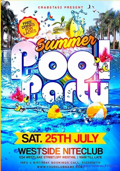 Pool Party Flyers Templates Free New 50 Best Summer Pool Party Flyer Print Templates 2019