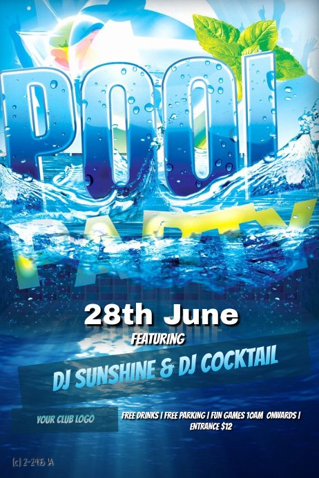 Pool Party Flyers Templates Free Unique Pool Party Template