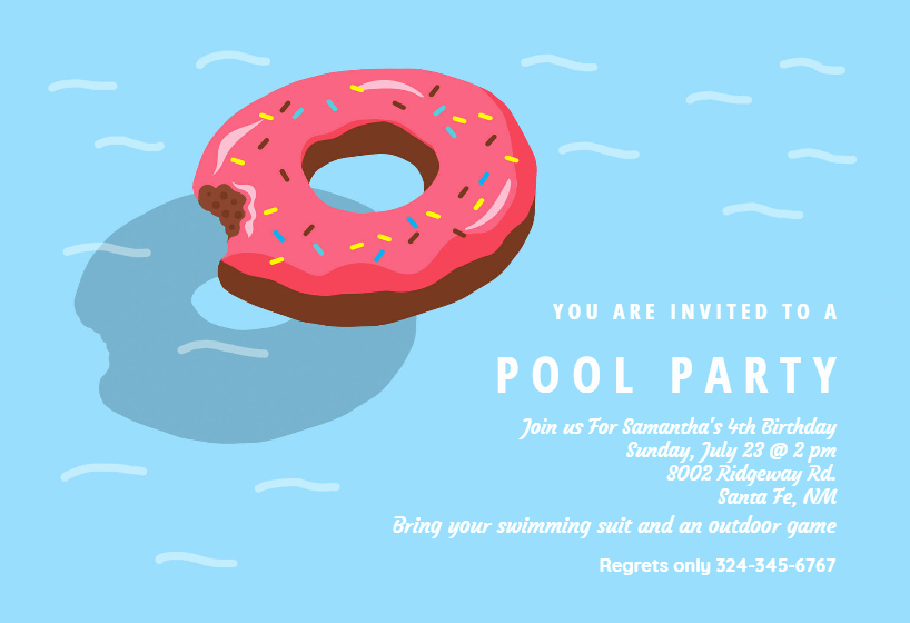 Pool Party Invite Template Awesome Donut Inflatable Pool Party Invitation Template Free