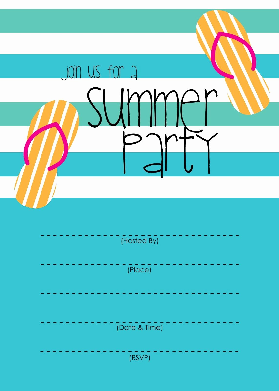 Pool Party Invite Template Awesome Summer Party Invitation – Free Printable