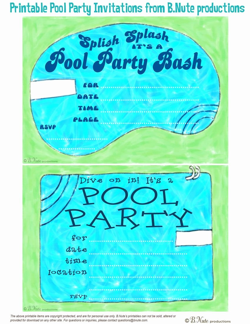 Pool Party Invite Template Beautiful Free Printable Pool Party Invitations