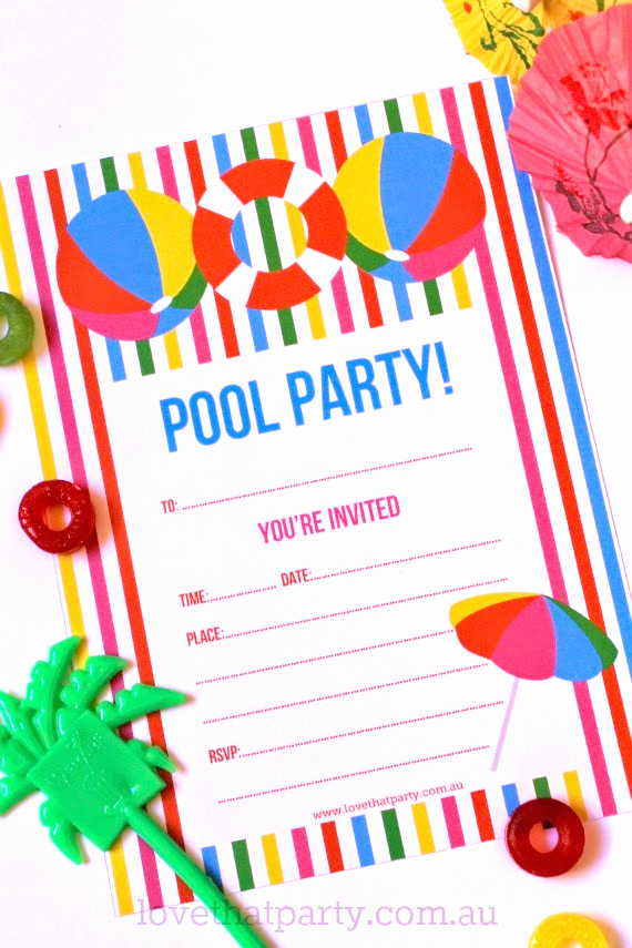 Pool Party Invite Template Best Of Free Printable Summer Pool Party Invitation the Girl