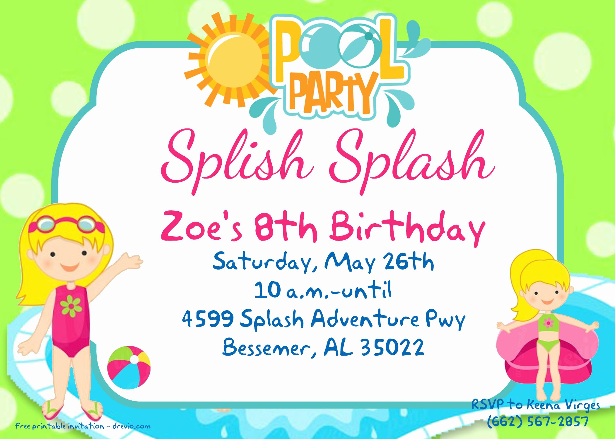 Pool Party Invite Template Elegant Free Printable Pool Party for Girls Invitations