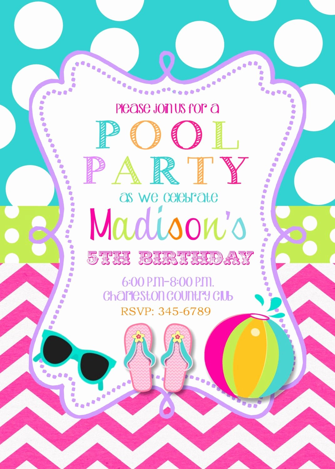 Pool Party Invite Template Elegant Pool Party Birthday Party Invitations Printable or Digital