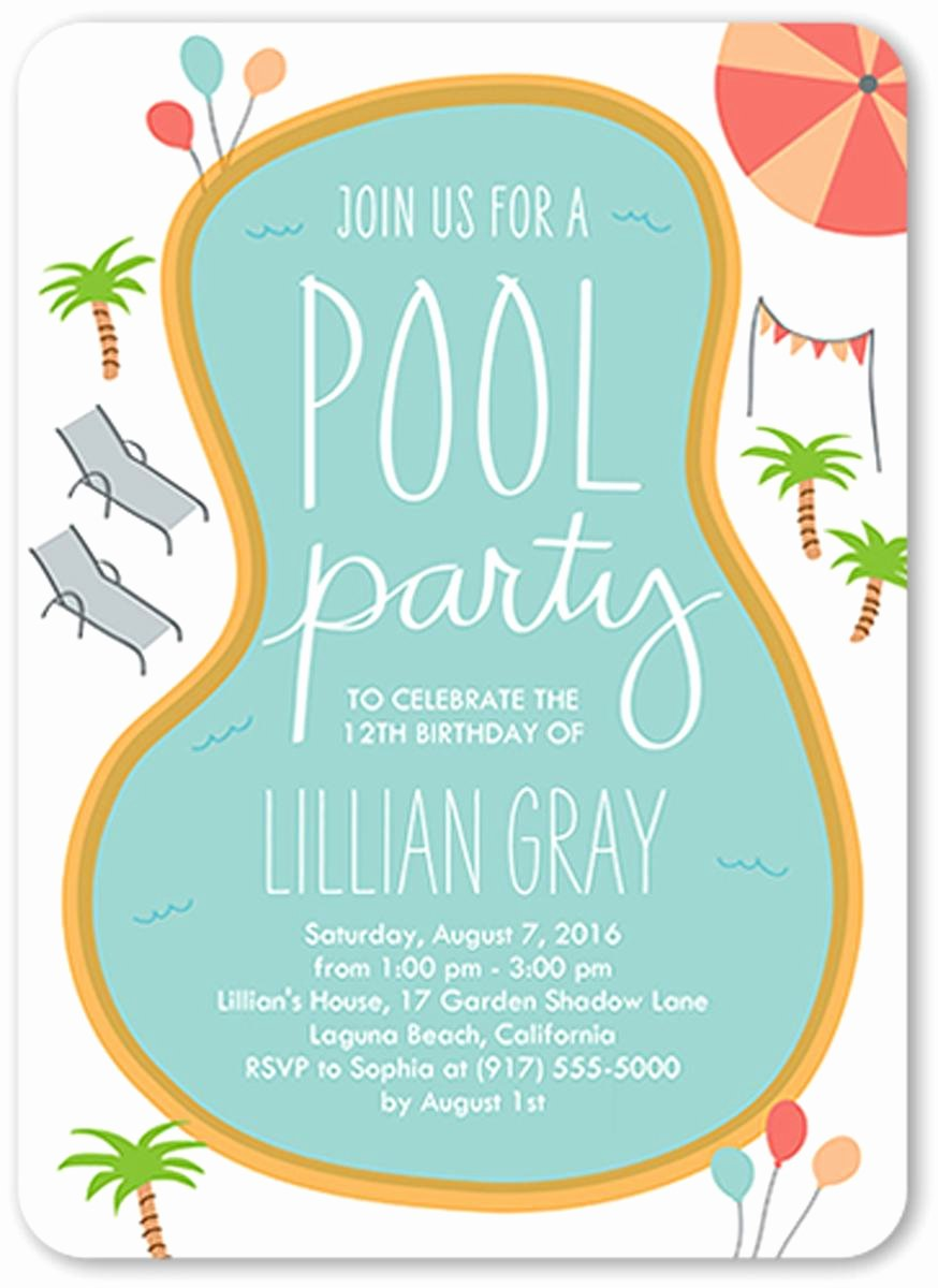 Pool Party Invite Template Fresh 18 Birthday Invitations for Kids – Free Sample Templates