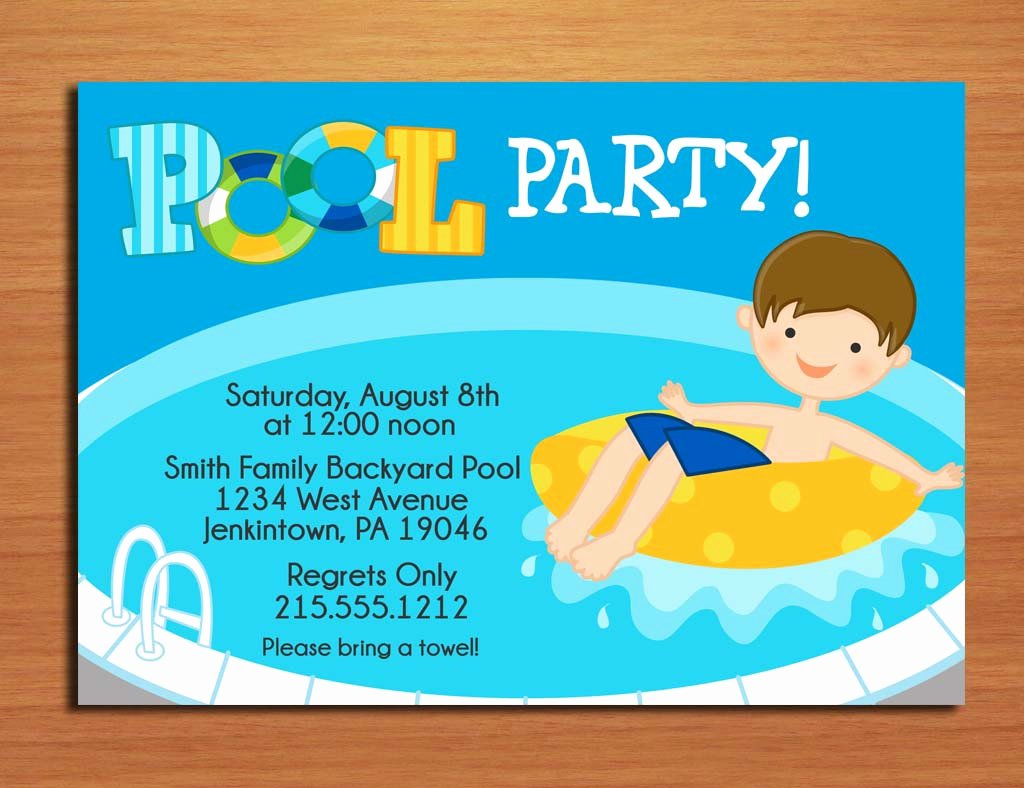 Pool Party Invite Template Fresh Free Printable Birthday Pool Party Invitations