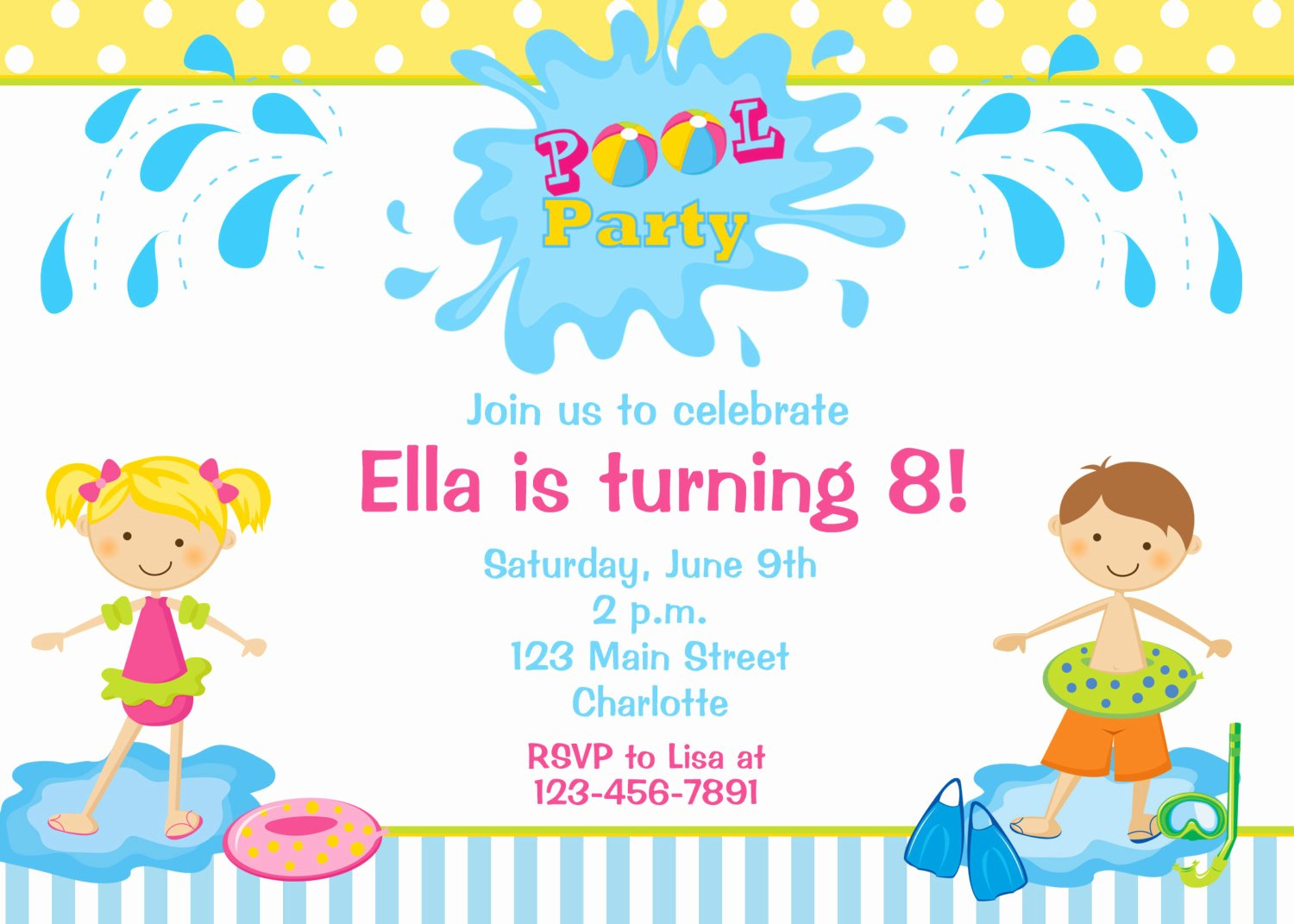 Pool Party Invite Template Fresh Pool Party Birthday Invitation Pool Party by thebutterflypress