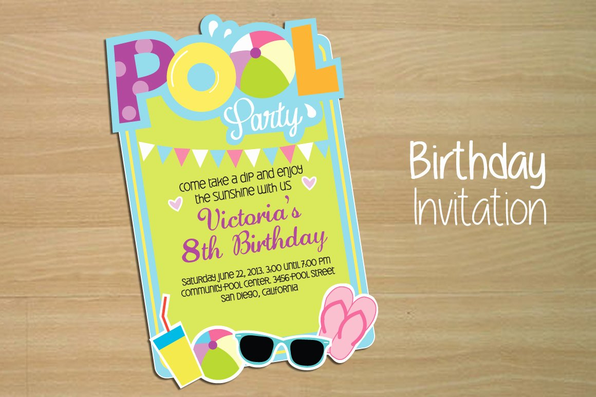 Pool Party Invite Template Lovely Invitation Pool Party Invitation Templates On Creative
