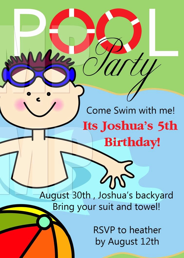 Pool Party Invite Template Luxury Free Printable Birthday Pool Party Invitations Templates