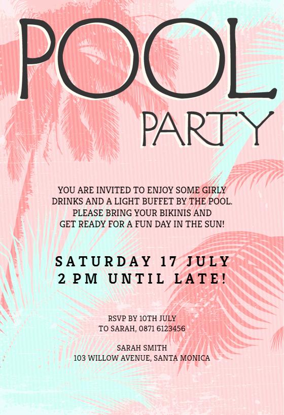 Pool Party Invite Template New Fun In the Sun Pool Party Invitation Template Free