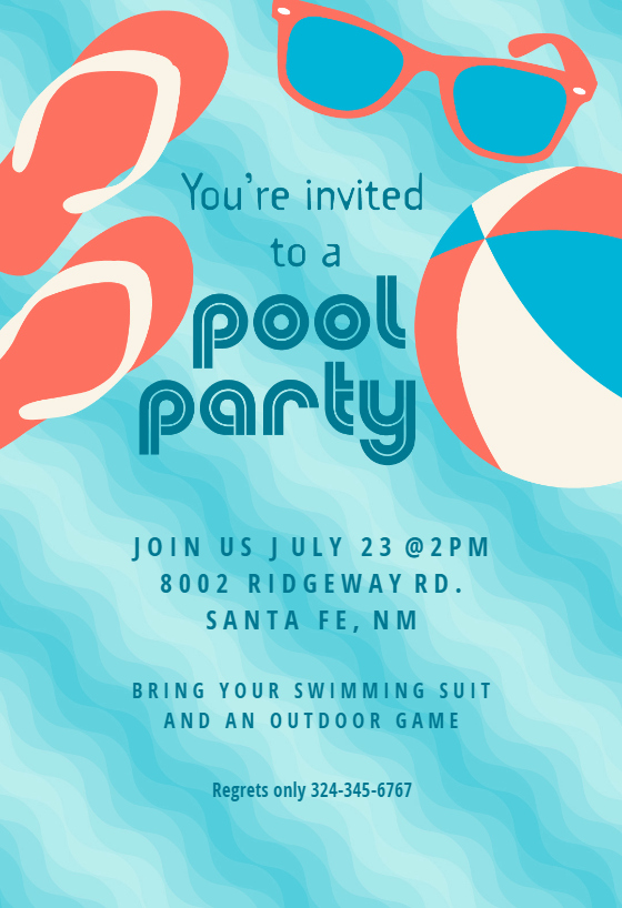 Pool Party Invite Template New Pool Party Stuff Pool Party Invitation Template Free