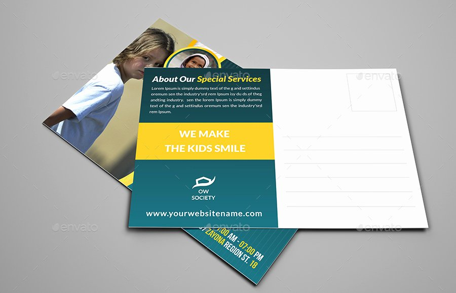 Postcard Template for Kids Awesome Kids Charity Postcard Template by Ow