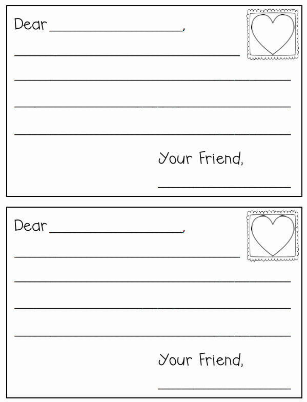 Postcard Template for Kids Luxury Letter Writing Template Freebielicious