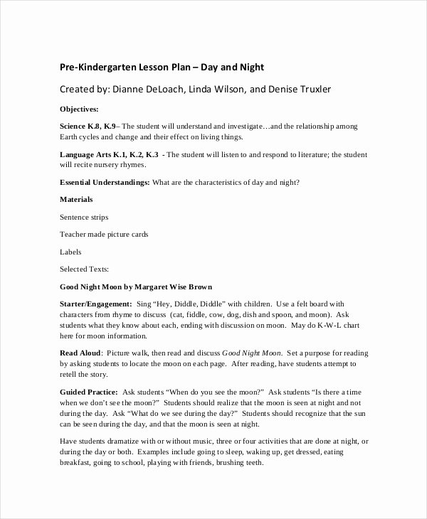 Pre Kindergarten Lesson Plan Template Beautiful Preschool Lesson Plan Template 10 Free Word Pdf Psd