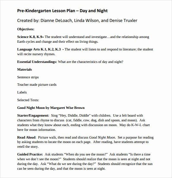 Pre Kindergarten Lesson Plan Template Luxury Sample Kindergarten Lesson Plan Template 8 Free