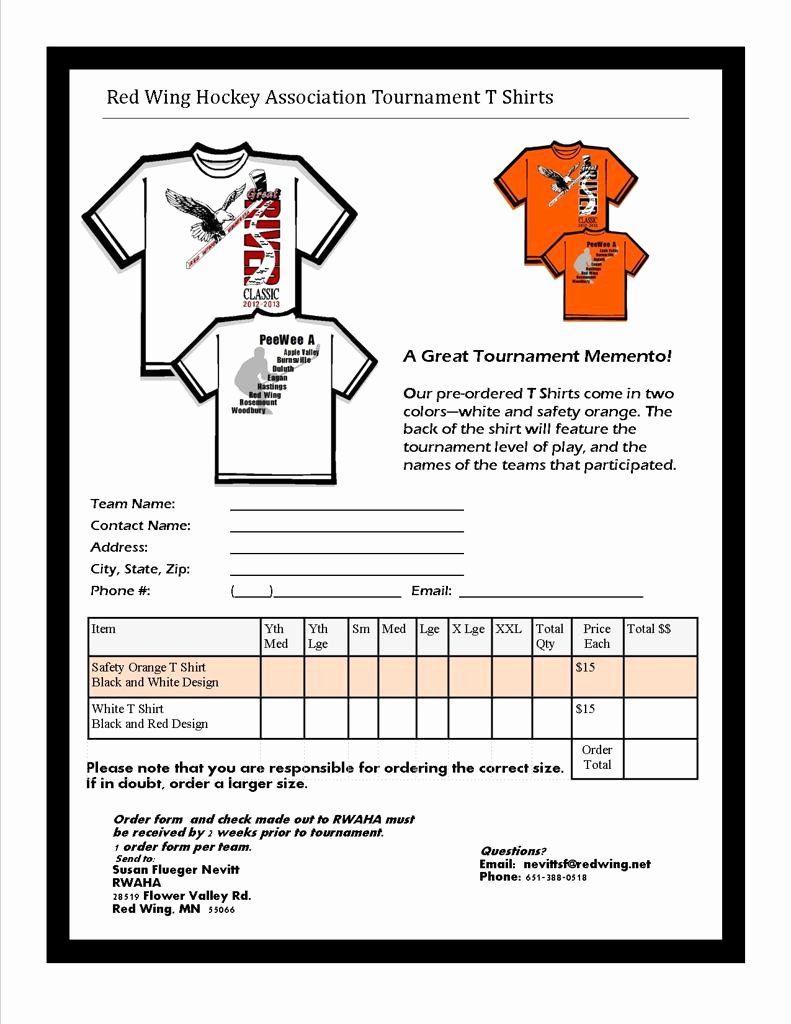 Pre order form Template Awesome 6 Best S Of T Shirt order form Team Pre T Shirt