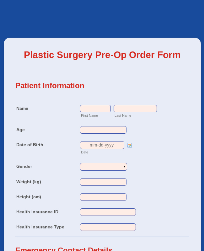 plastic surgery pre op order form