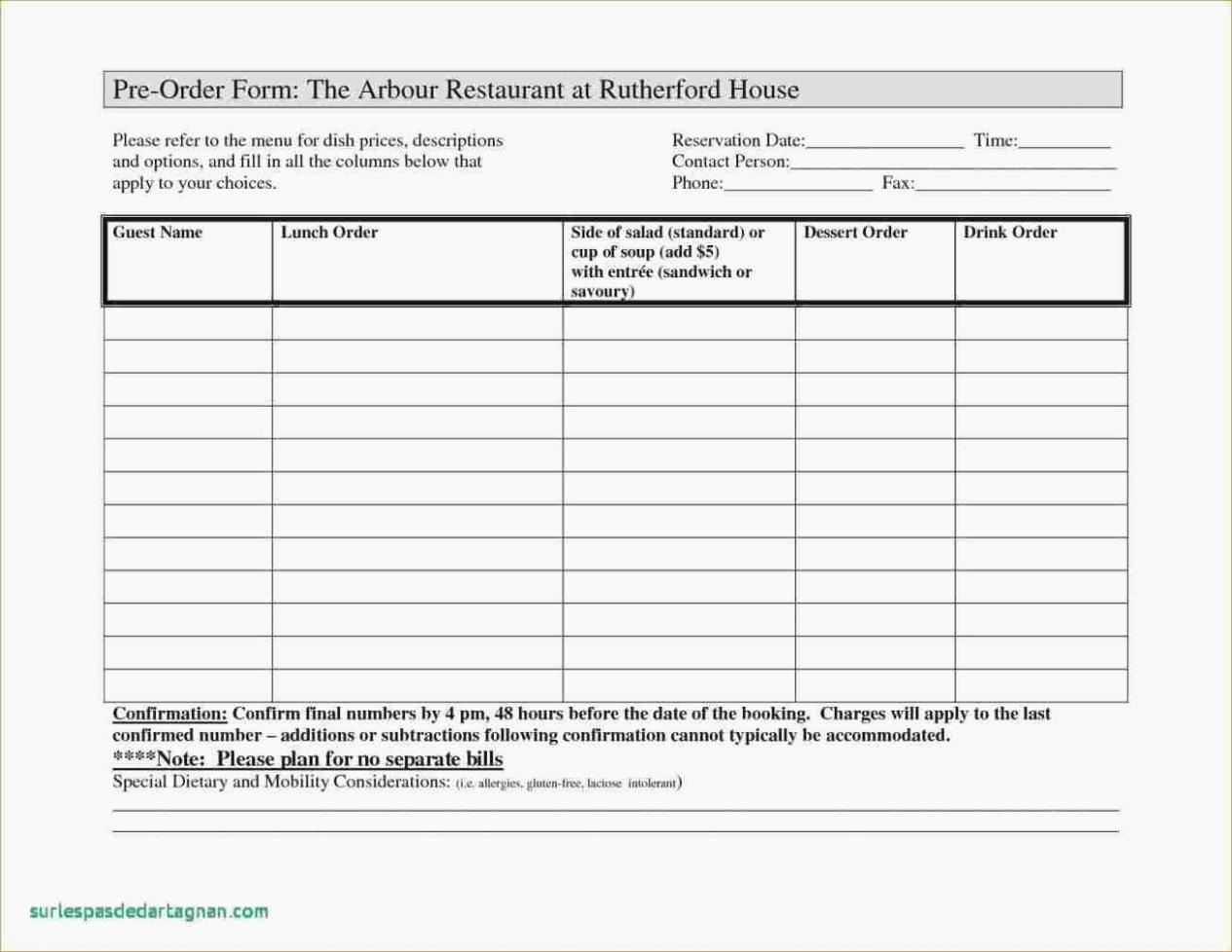 Pre order form Template Awesome Pre order form Template Free