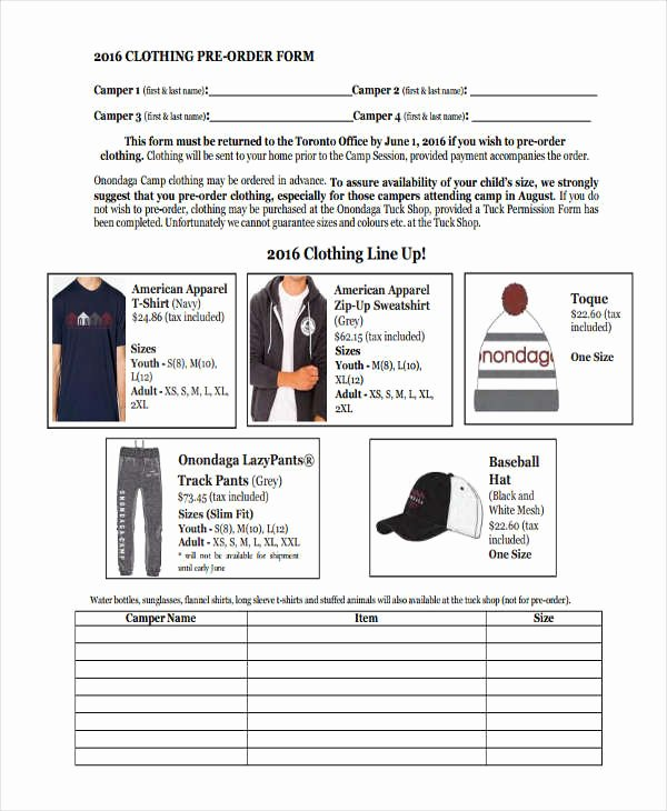 Pre order form Template Fresh 9 Clothing order forms Free Samples Examples format