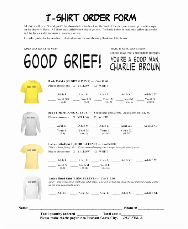 Pre order form Template Unique 12 T Shirt order forms Free Sample Example format