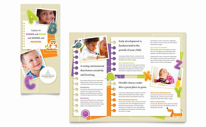 Preschool Flyer Template Free Elegant Kindergarten Tri Fold Brochure Template Design