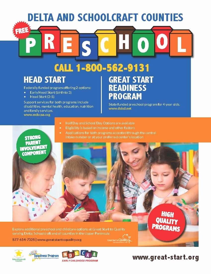 Preschool Flyer Template Free Fresh Great Start Readiness Program Gsrp Delta Schoolcraft