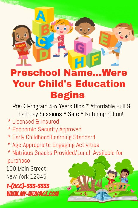 Preschool Flyer Template Free Fresh Preschool Template