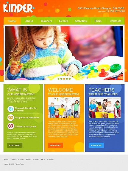 Preschool Flyer Template Free Inspirational Colorful Day Care Nursery & Kindergarten Kids Website