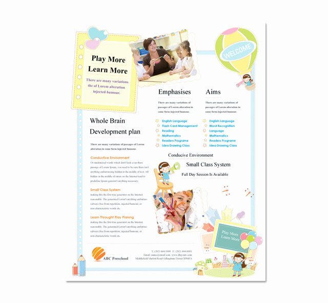 Preschool Flyer Template Free Luxury Preschool Flyer Template Dlayouts Graphic Design Blog