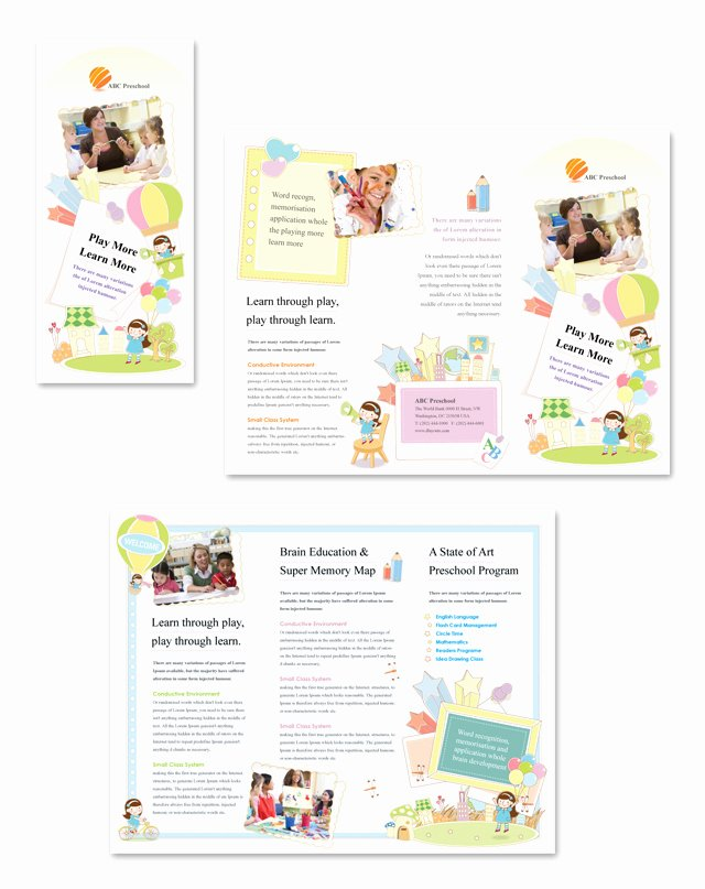 Preschool Flyer Template Free Unique Preschool Tri Fold Brochure Template