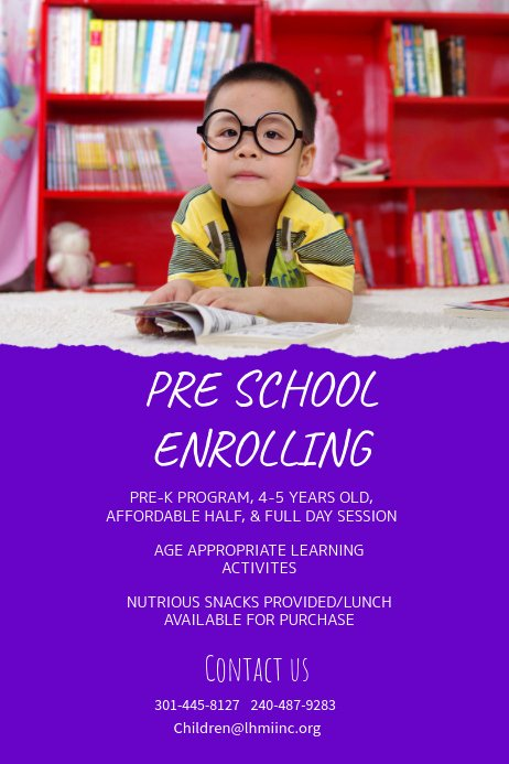 Preschool Flyer Template Free Unique Purple Preschool Enrollment Poster Template