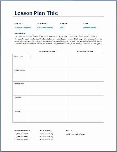 Preschool Lesson Plan Template Word Fresh Teacher Daily Lesson Planner Template Teaching