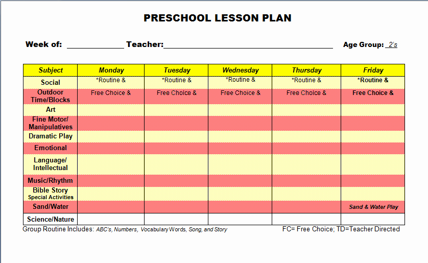 Preschool Lesson Plan Template Word New Printable Editable attendance Registers for Preschool Kids