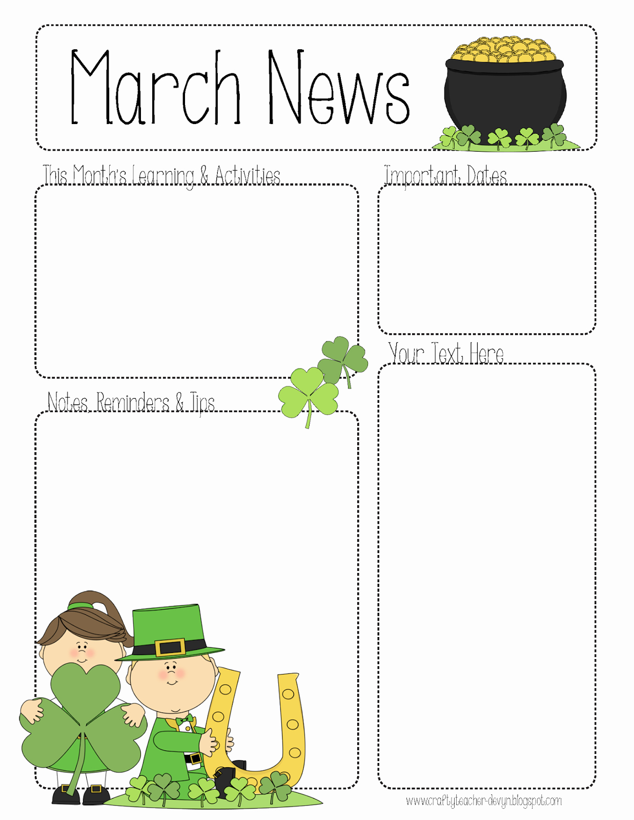 Preschool Newsletter Templates Free Fresh March Newsletter