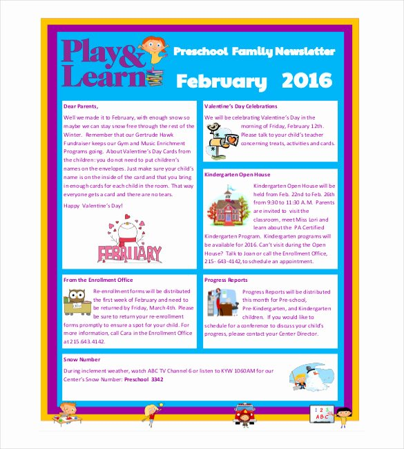 Preschool Newsletter Templates Free Lovely 10 Preschool Newsletter Templates – Free Sample Example