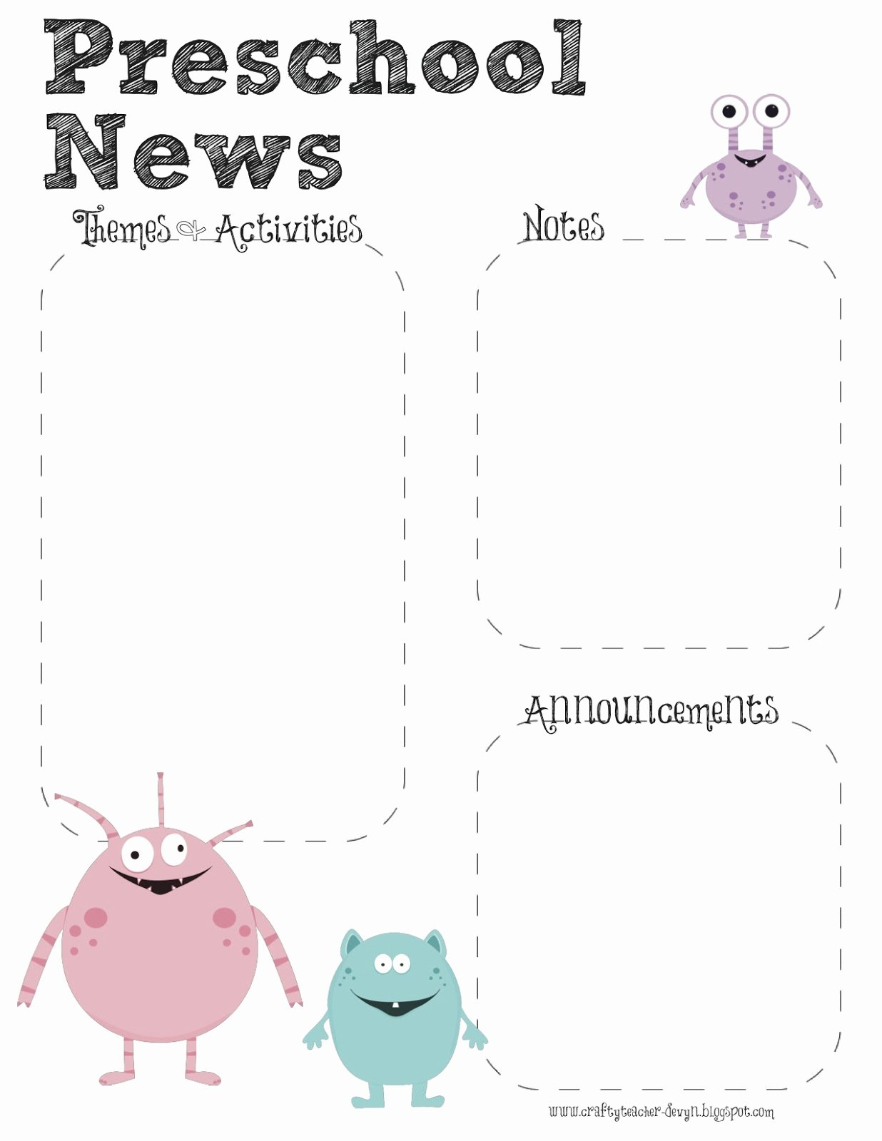 Preschool Newsletter Templates Free Lovely Monster theme Preschool Newsletter Template