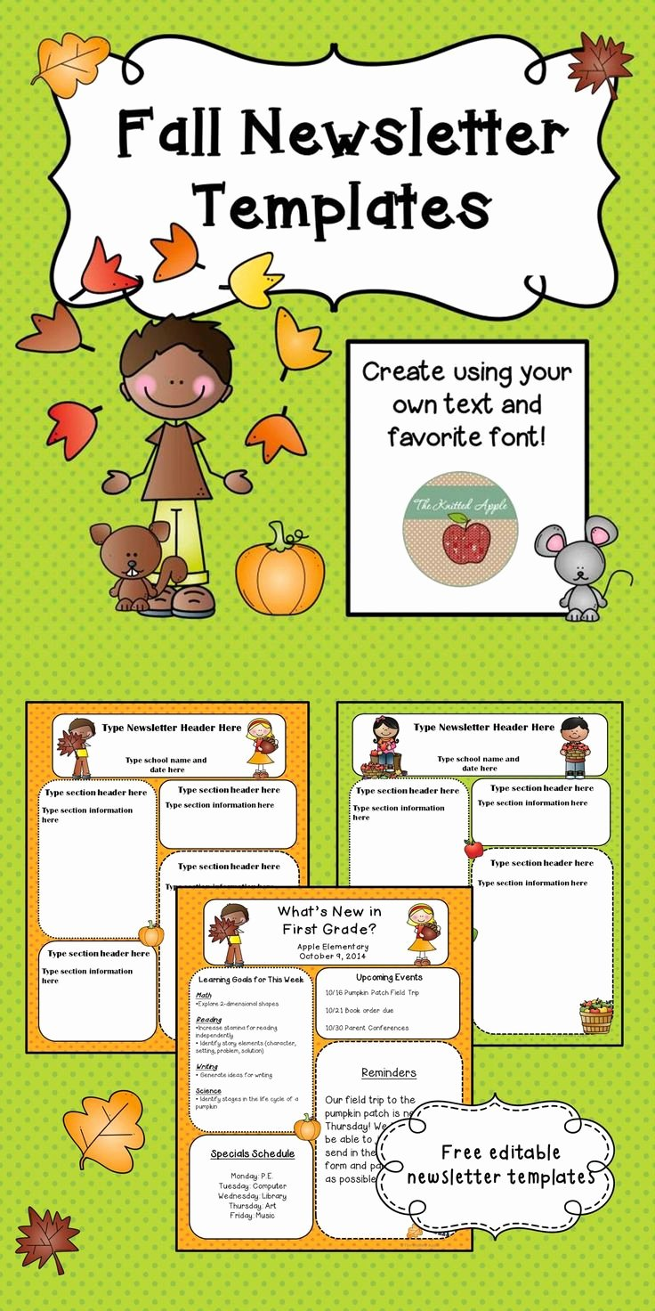 Preschool Newsletter Templates Free Luxury Free Fall themed Newsletter Templates