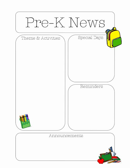 Preschool Newsletter Templates Free New Pre K Newsletter Template