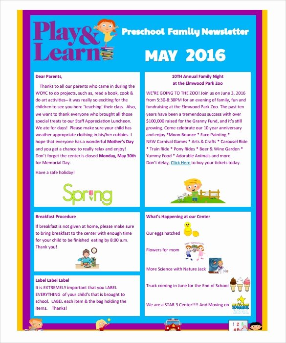 Preschool Newsletter Templates Free New Sample Preschool Newsletter 8 Free Download for Word Pdf