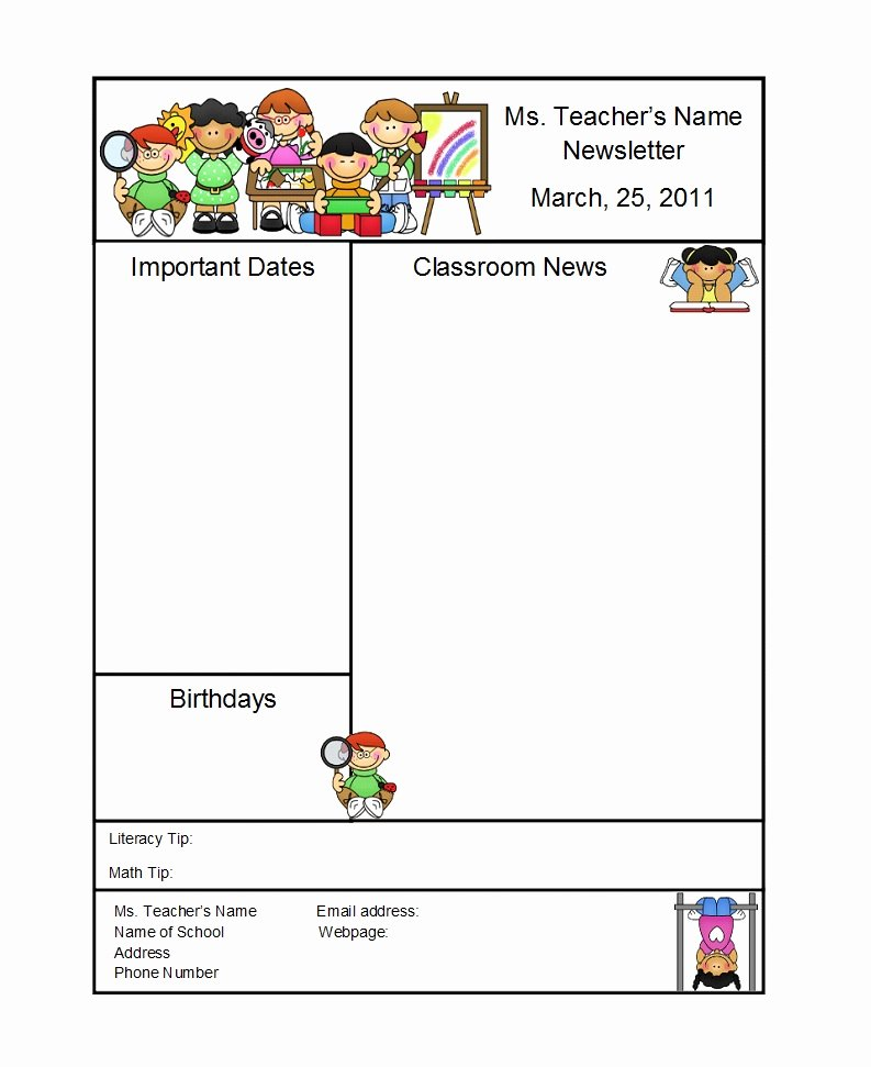 Preschool Newsletter Templates Free Unique 50 Creative Preschool Newsletter Templates Tips