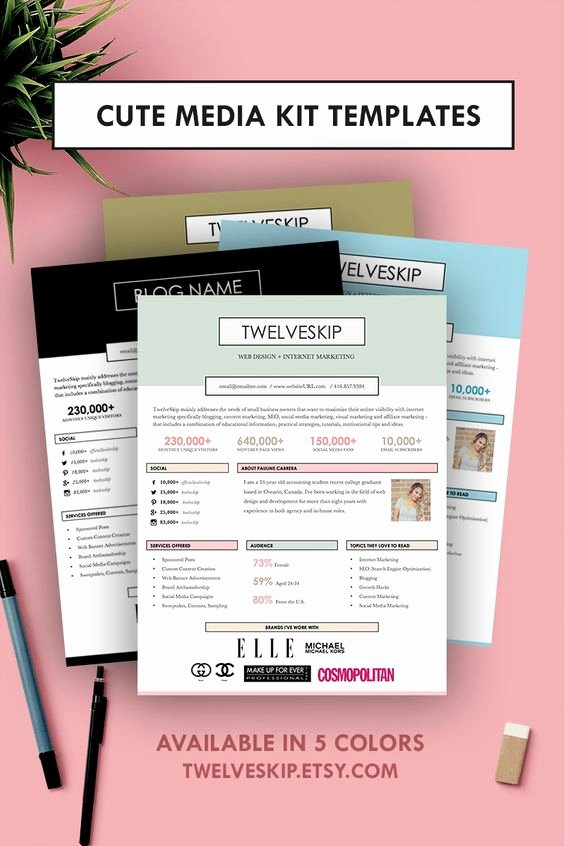 Press Kit Template Free Beautiful 5 Punchy Easy to Edit Media Kit Templates for Bloggers