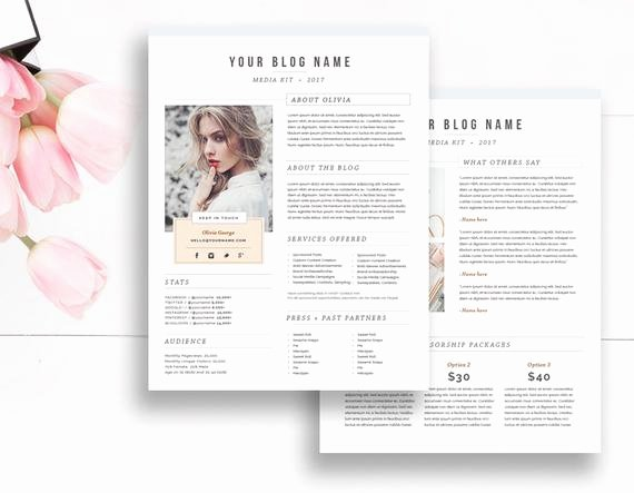 Press Kit Template Free Beautiful Media Kit Template 2 Page Blogger Media Kit Media Press