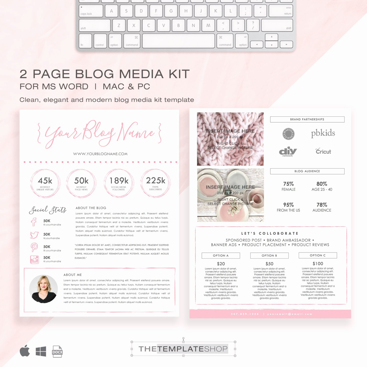 Press Kit Template Free Best Of Media Kit Template 2 Page Blog Media Kit Press Kit