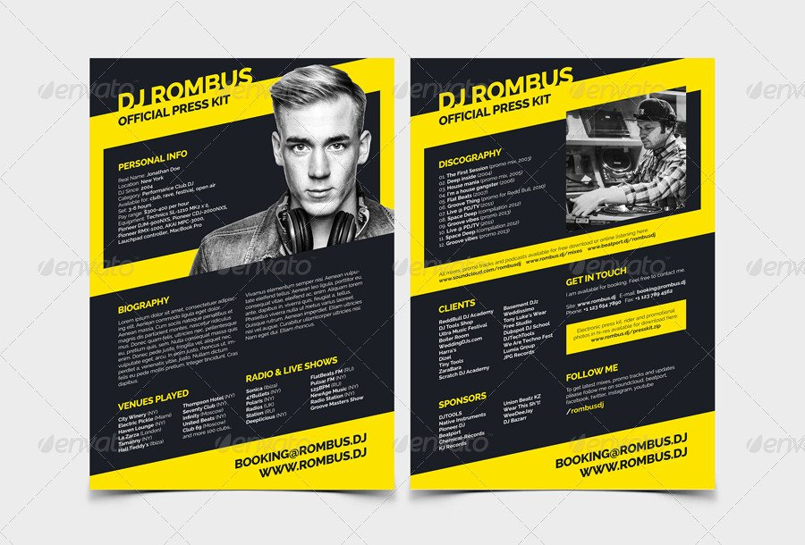 Press Kit Template Free Best Of Rombus Dj Resume Press Kit Psd Template by Vinyljunkie
