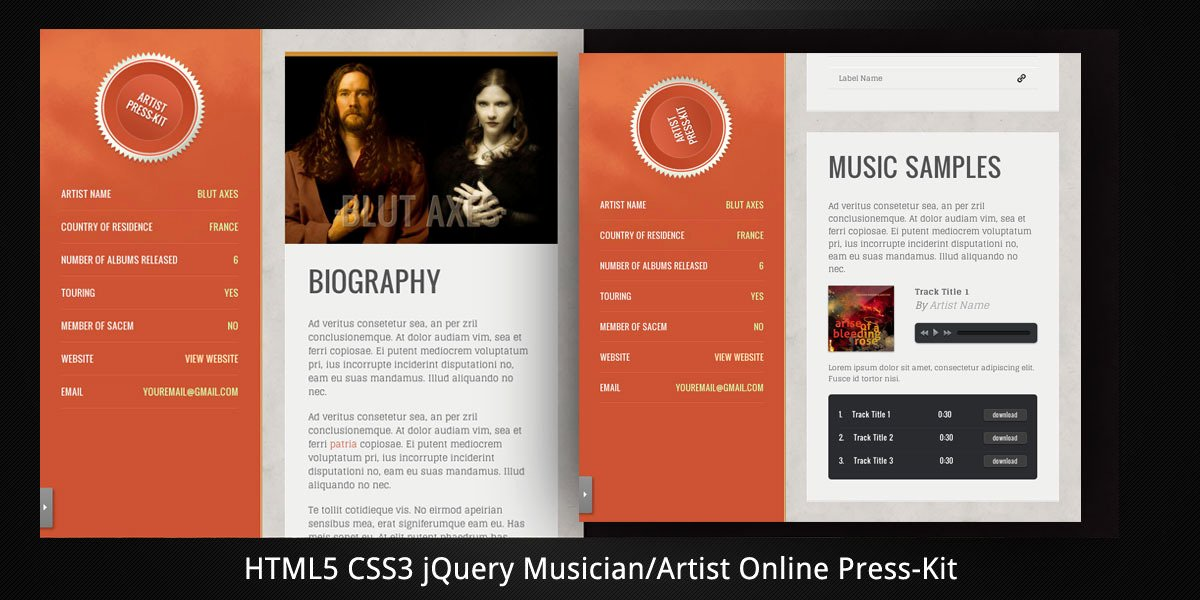 Press Kit Template Free Elegant Musician Artist HTML5 Line Press Kit by Virtuti